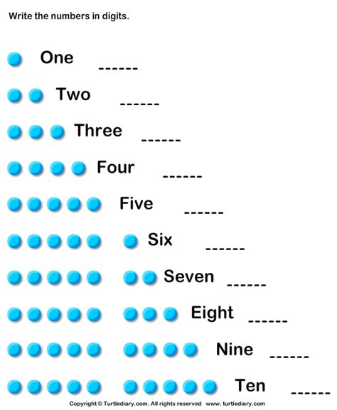Number Names up to Ten Worksheet - Turtle Diary