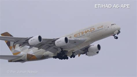 ETIHAD Airbus A380 powerful takeoff from Oslo Airport