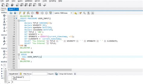 MySQL procedure to accept user input and to show same as