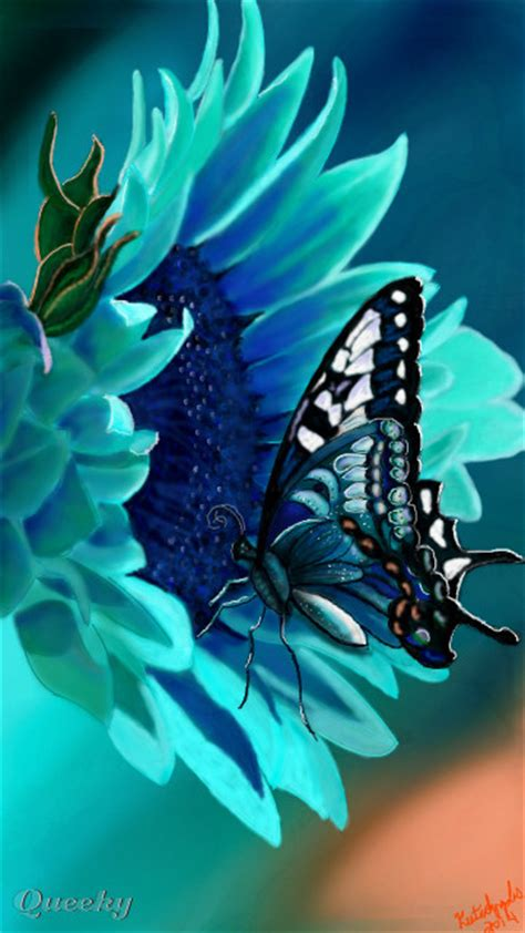 Teal Flower and Butterfly ← a other Speedpaint drawing by