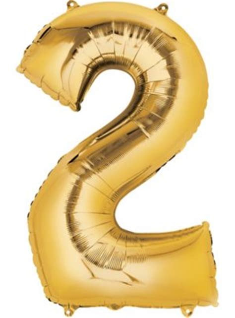 Giant Gold Number 2 Balloon 22in x 33in - Party City