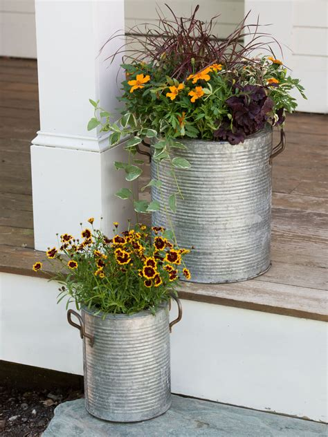 Galvanized Metal Planters with a Rim and Handles
