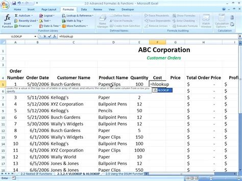 Excel 2007 - Using the HLOOKUP Function - YouTube