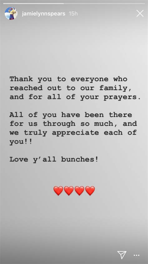 Jamie Lynn Spears Thanks Fans for Prayers After News of