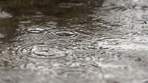 Rain Drops Dripping In A Puddle - Slow Motion Stock