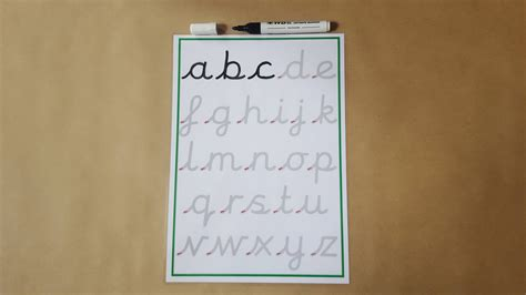 Tracing letters pre cursive handwriting practice mat lower