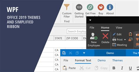 WPF - Office 2019 Themes and Simplified Ribbon (v19